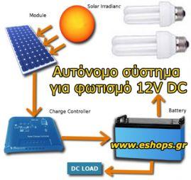 0.30ΚWh 12V/DC AGM/VRLA -  Φωτοβολταϊκό αυτόνομο σύστημα