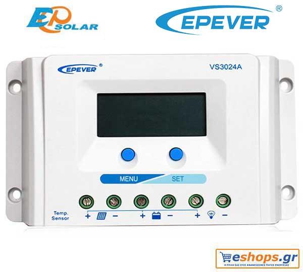 Ψηφιακός  ρυθμιστής φόρτισης 30A / 12V τεχνολογίας PWM  Epsolar / EPEVER VS3024A 30A 12V / 24V για αυτόνομα  φωτοβολταϊκά συστήματα.
