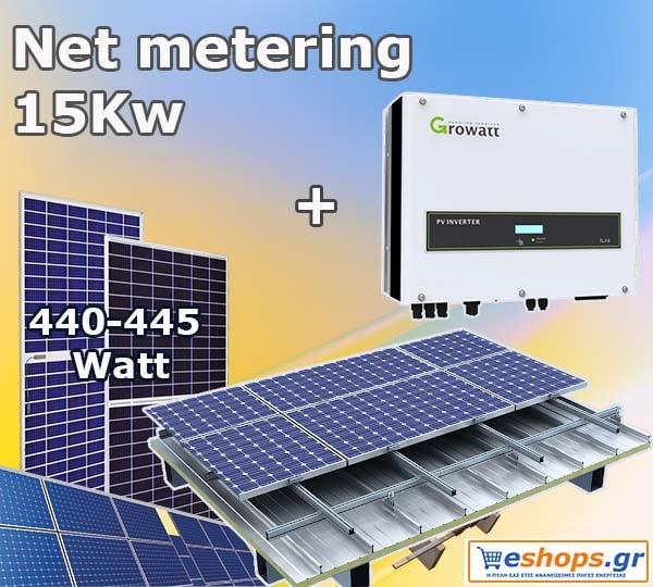 Net metering 15kW για ενεργειακό συμψηφισμό και εξοικονόμηση με ΔΕΗ με παραγωγή ως 24.700kWh ανά έτος